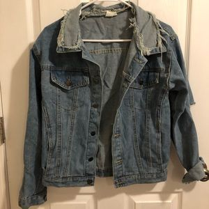 DENIM JACKET (RIPPED ELBOW)